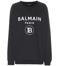 Balmain Logo Cotton Sweatshirt Black