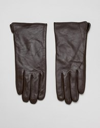 Barney's Originals Touch Screen Compatible Real Leather Gloves Brown