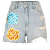 River Island Light Blue Flower Badge Ripped Denim Shorts