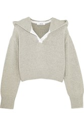 Adeam Cropped Cotton And Cashmere Blend Hooded Sweater Light Gray