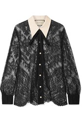 Gucci Grosgrain Trimmed Pussy Bow Lace Blouse Black