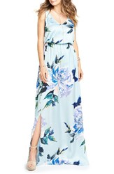 Show Me Your Mumu Women's Kendall Soft V Back A Line Gown Mint To Be Floral