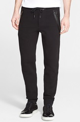 Marc By Marc Jacobs 'Luke' Leather Trim Sweatpants Black
