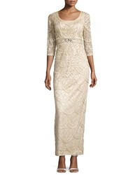 Sue Wong Lace Scoop Back Gown Champagne