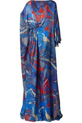 Rosie Assoulin Lady Liberty Gathered Printed Crepe De Chine Gown Blue