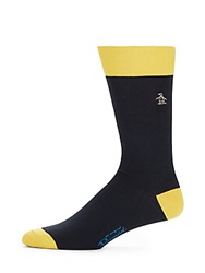 Original Penguin Colorblock Pima Cotton Blend Socks Navy