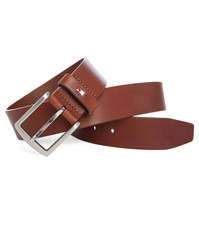 Tommy Hilfiger Cognac Danton Leather Belt 5 Cm Burgundy