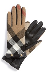 Burberry Check Wool Gloves Black