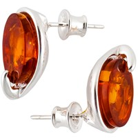 Be Jewelled Sterling Silver Amber Oval Stud Earrings Silver Orange