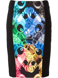 Versus Stretch Panelled Baroque Print Skirt Black