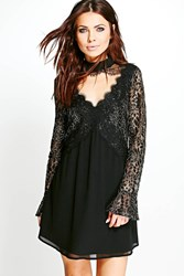 Boohoo Boutique Lace Front Swing Dress Black