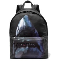Givenchy Leather Trimmed Shark Print Canvas Backpack Blue