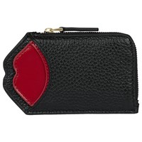 Lulu Guinness Pop Up Lip Liliana Leather Purse Black Red