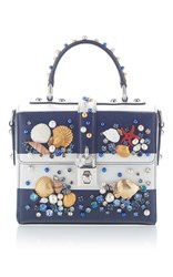 Dolce And Gabbana Embellished Striped Tote Navy
