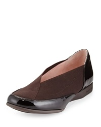 Taryn Rose Treva Patent Leather And Elastic Sport Loafer Dark Brown