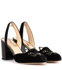 Charlotte Olympia Kitty Velvet Slingback Pumps Black