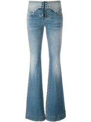 Roberto Cavalli Lace Up Vintage Effect Flare Jeans Blue