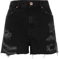 River Island Womens Black High Waisted Frayed Denim Shorts
