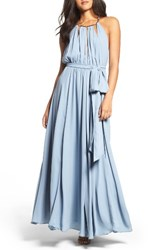 Lulus Women's Gold Metallic Halter Neck Chiffon Gown Grey Blue
