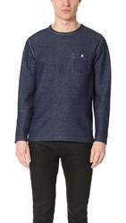 Todd Snyder Long Sleeve Crew Neck Sweatshirt With Pocket Indigo