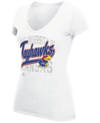 Adidas Women's Kansas Jayhawks Script Tail Shadow T Shirt White