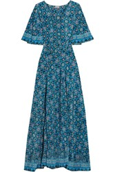 Talitha Printed Silk Crepe De Chine Maxi Dress Navy