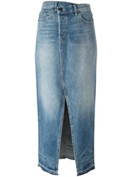 Helmut Lang Front Slit Denim Skirt Blue