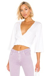 Bcbgeneration Surplice Knit Top White