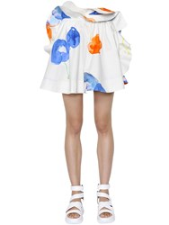 Msgm Ruffled Printed Cotton Poplin Skirt