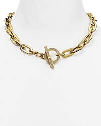 Michael Kors Chain Link Pave Toggle Necklace 18 Gold