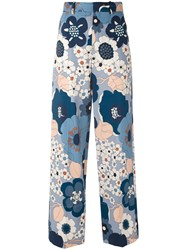 Chloe Wide Leg Floral Trousers Women Cotton 38 Blue