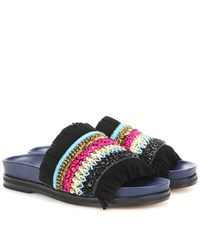 Tory Burch Isle Slide Embellished Slip On Sandals Black