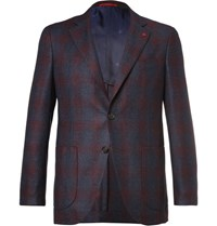 Isaia Blue Slim Fit Checked Super 120S Wool Blazer Navy