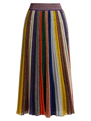 Missoni Pleated Striped Wool Blend Midi Skirt Multi