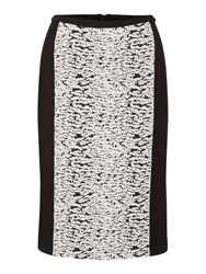 Episode Pencil Skirt With Boucle Panel Black White
