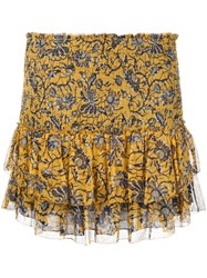 Etoile Isabel Marant Bee Print Smocked Miniskirt Yellow Orange