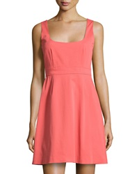 Red Valentino Bow Back Square Neck Sleeveless Dress Coral