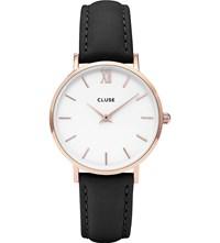 Cluse Cl30003 Minuit Rose Gold Stainless Steel And Leather Watch White