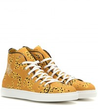 Charlotte Olympia Web Embroidered High Top Sneakers Yellow