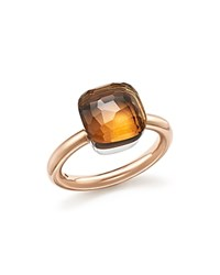 Pomellato Nudo Classic Ring With Madeira Quartz In 18K Rose And White Gold Brown Rose