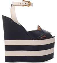 Gucci Sally Leather Platform Wedge Sandals Blue Other