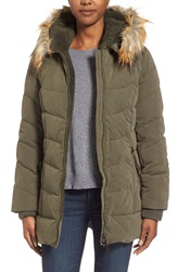 Dkny Faux Fur Trim Down And Feather Fill Parka Loden