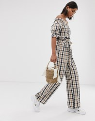 Neon Rose Wide Leg Trousers With Paper Bag Waist In Check Co Brown