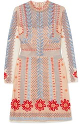 Temperley London Teahouse Embroidered Tulle Mini Dress Neutral