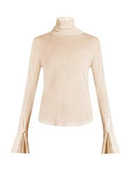 Chloe Roll Neck Wool Silk And Cashmere Blend Sweater Light Pink