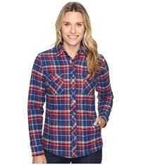 Kuhl Amaya Lined Flannel Shirt Blue Depths Women's Long Sleeve Button Up