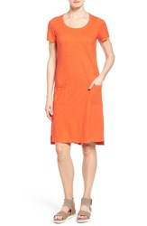Women's Eileen Fisher Hemp And Organic Cotton Scoop Neck Shift Dress Sunburst