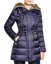 Laundry By Shelli Segal Drawstring Quilted Coat With Faux Fur Trim Mystic Blue