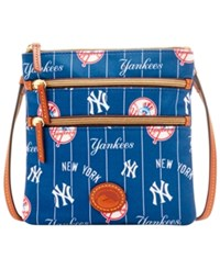Dooney And Bourke New York Yankees Nylon Triple Zip Crossbody Navy