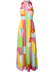 Moschino Colour Block Pussy Bow Gown Yellow And Orange